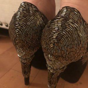 Enzo Angiolini black beaded sequin platforms sz 7